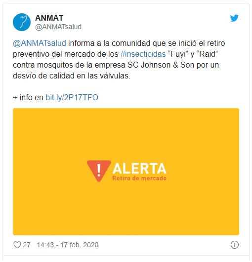 Alerta | Retiran del mercado insecticidas en aerosol de dos reconocidas marcas twitter