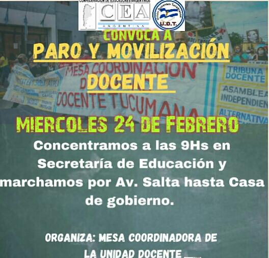 UDT convoca a un paro e incentiva la movilización docente
