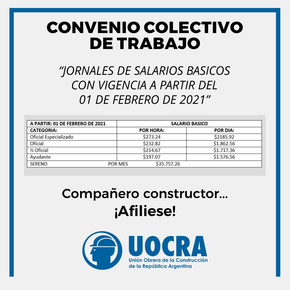 La Unión Obrera de la Construcción de la República Argentina, seccional Tucumán, compartió en sus redes sociales las nuevas escalas salariales. Las mismas entran en vigencia este mes de febrero y completan un incremento del 33% respecto al anterior mes de octubre.