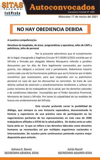 SiTAS denunciará civil y penalmente a funcionarios del SiProSa